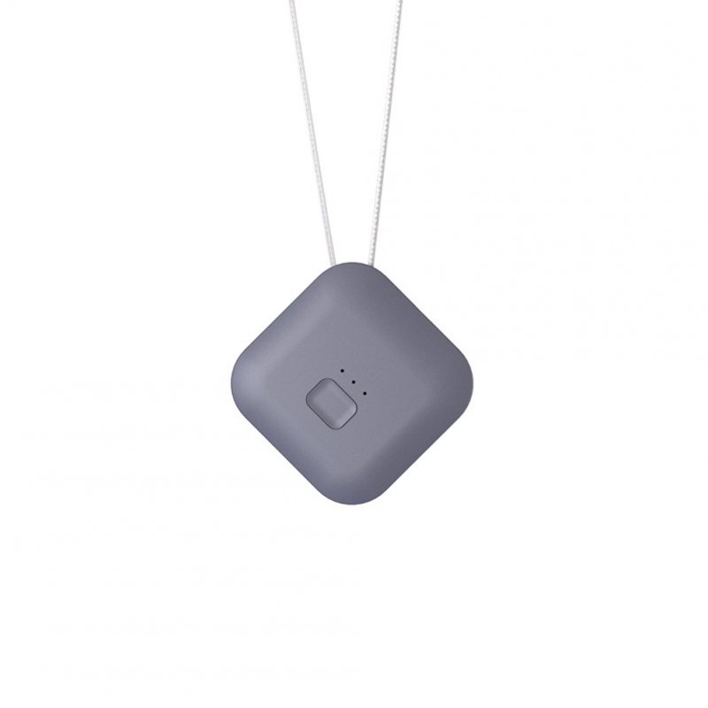 Portable Necklace Air Purifier Remove Formaldehyde PM2.5 Anion Air Freshener Square [Gray]