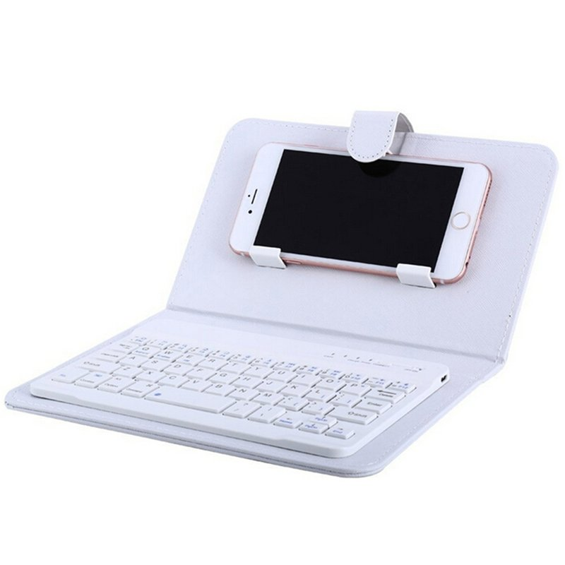 Portable PU Leather Wireless Keyboard Case for iPhone with Bluetooth Keyboard for 4.2-6.8 Inch Phones  White_Bluetooth keyboard + leather case