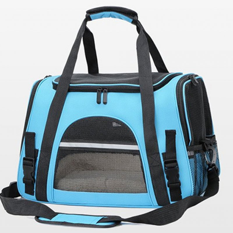 Portable Pet Bag Outgoing Travel Breathable Pets Cage Handbag with Top Window Mesh Light blue