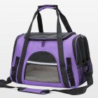 Portable Pet Bag Outgoing Travel Breathable Pets Cage Handbag with Top Window Mesh purple