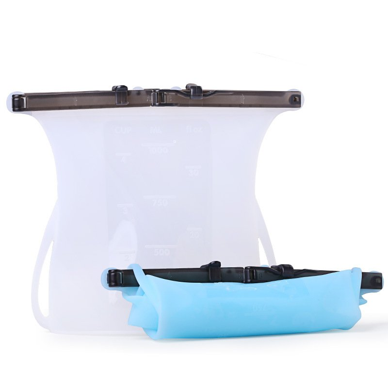 Portable Silicone Sealed Bag Versatile Preservation Bag Container for Vegetable Liquid Snack Meat white