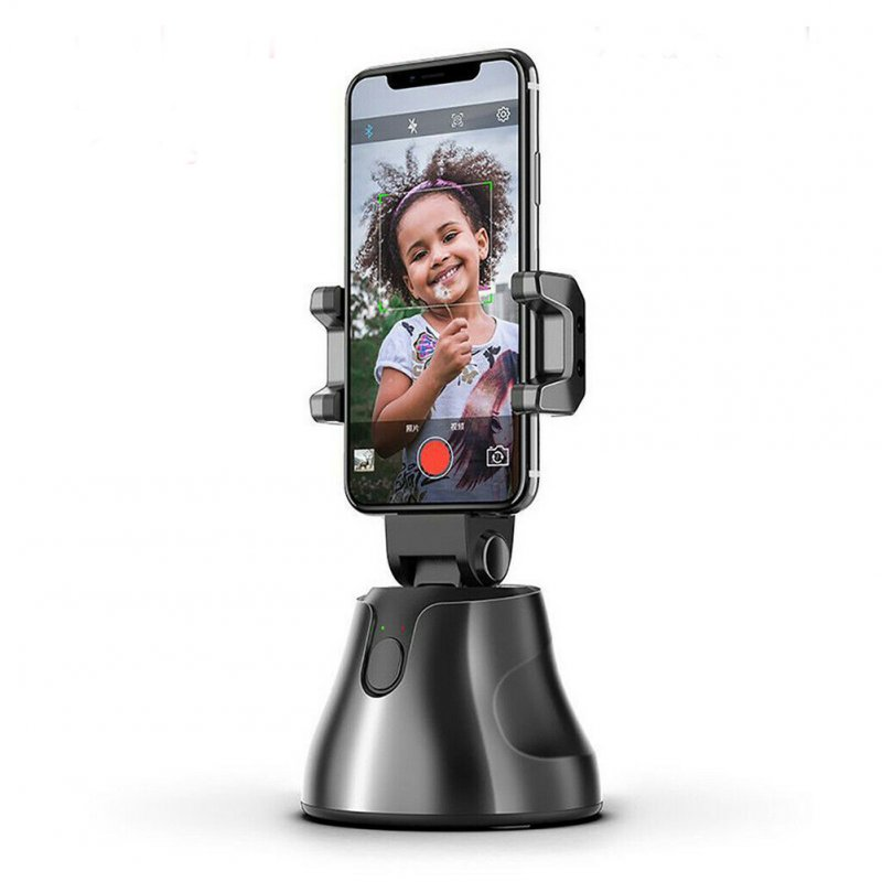 Portable Smart Shooting Selfie Stick 360 Rotation Auto Face Tracking Object Tracking Camera Phone Holder black