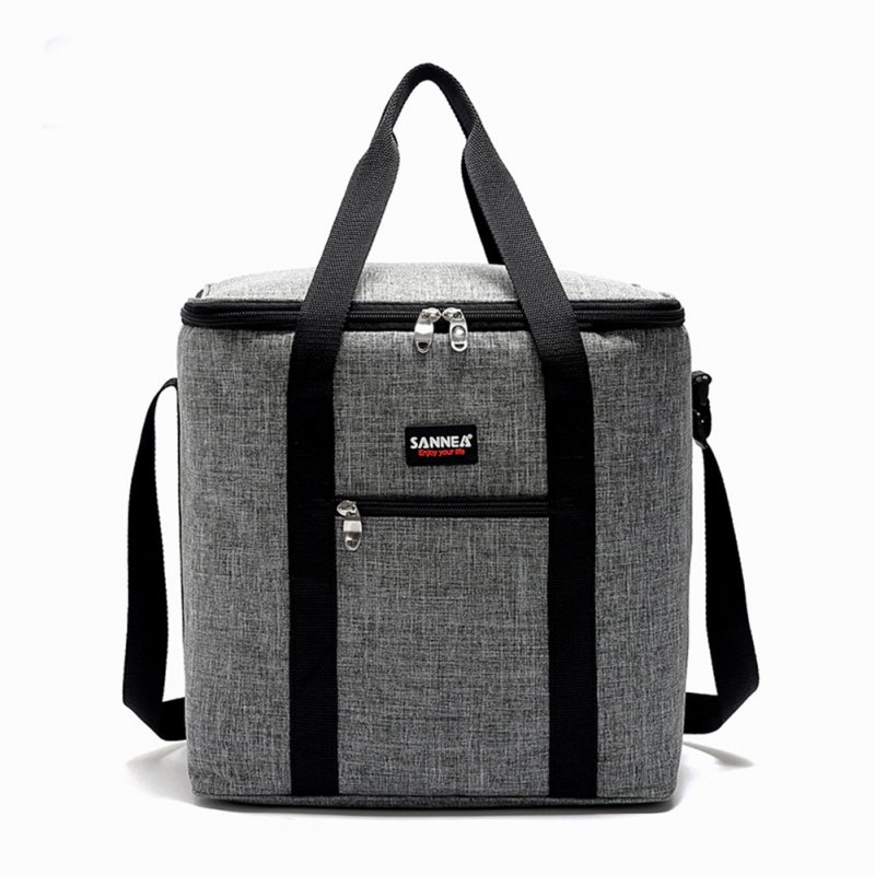 Portable Thermal Lunch Bag Shoulder Food Picnic Cooler Boxes Bags Insulated Storage Container Grey NEW