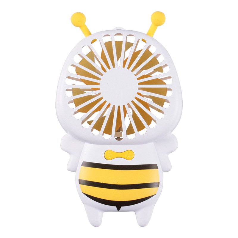 Portable USB Charging Cartoon Bee Shape Fan with LED 7Colors Change Light yellow