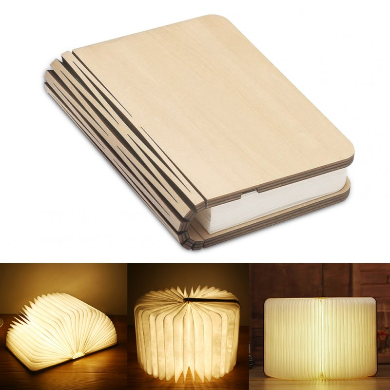 Portable USB Rechargeable LED Light Foldable Wooden Book Lamp for Home Decor Wooden white maple Dupont paper money