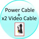 Power   x2 Video Cables for CVECL 705H 7 Inch Rearview Mirror Monitor