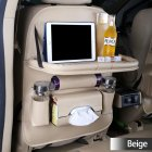 Practical Car Fold Dining Rack Storage Bag Tissue Box Hanging Bags Dining table - beige