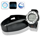 Practical digital heart rate monitor consisting of a waterproof exercise watch and chest belt to track your heart rate during daily exercise routines