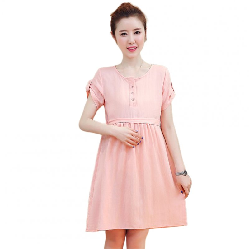 Pregnant Dress Short Sleeve Summer Cotton Linen Dress for Pregnant Woman Pink_L