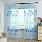 Printed Tulle Transparent Window Screen Bedroom Balcony Curtain blue_W100cm * H200cm