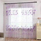 Printed Tulle Transparent Window Screen Bedroom Balcony Curtain purple_W100cm * H200cm