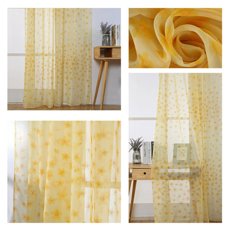 Printing Curtain Window Screen Tulle for Living Room Bedroom Balcony Decor yellow_1m wide x 2m high pole