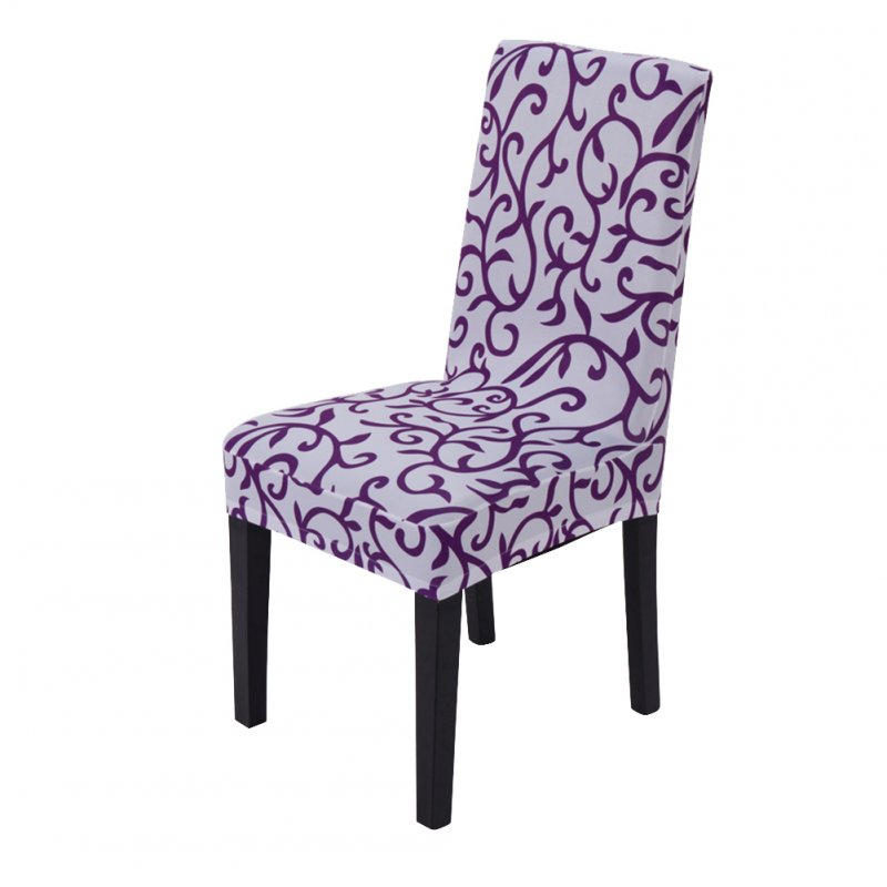 Printing Removable Chair Cover Elastic Slipcover Modern Kitchen Seat Case Stretch Chair Cover for Banquet Printed white + purple_One size