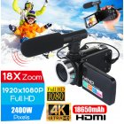 Professional 4K HD Camcorder Video Camera Night Vision 3.0 Inch LCD Touch Screen Camera 18x Digital Zoom Camera with Microphone camera + microphone set