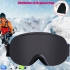 Professional Double Layers Anti Fog Large Spherical Outdoor Activities Ski Hiking Goggles Glasses Black Frame Silver