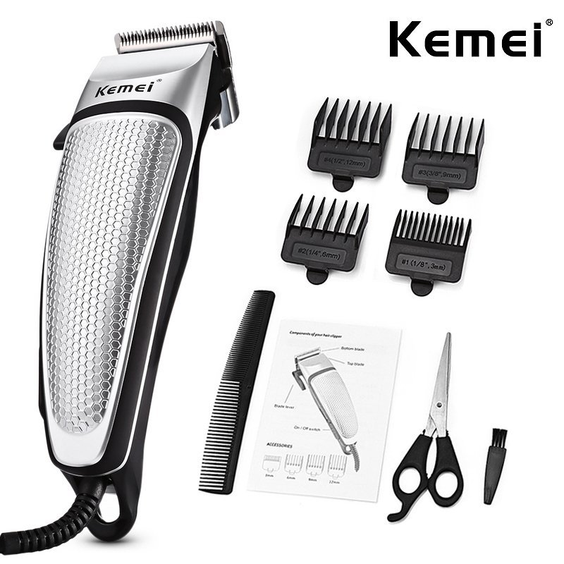 Professional Hair Clipper Electric Trimmer Household Low Noise Haircut Men Shaving Machine Hair Styling Tool Silver_AU Plug