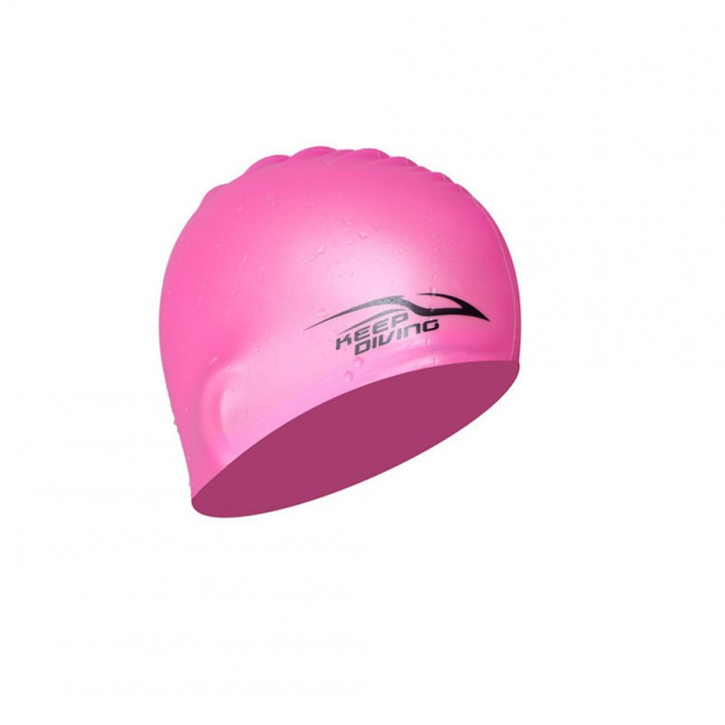 Professional Unisex Silicone Swimming Cap Ultrathin Hat Ears Protect Waterproof Hat Pink