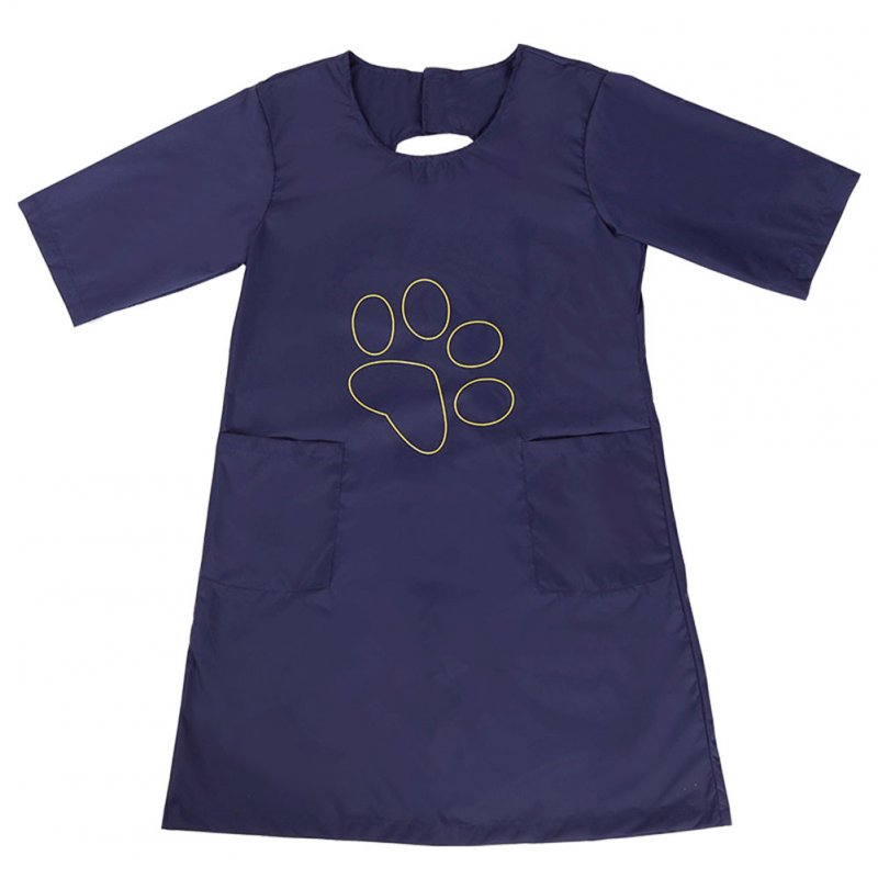 Professional Waterproof Pet Grooming Staff Gown Anti-static Dog Cat Apron Half Sleeve blue_M