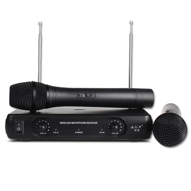 Professional Wireless Microphone System Karaoke Dual Handheld Dynamic Microphones Mic for Home Party KTV black_EU plug