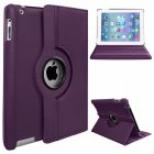 Protective Cover 360-degree Rotating Leather Case for Apple ipad  Air/ipad5 purple