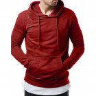 Pure Color Leisure Hole Fashion Men Side zipper Sweatershirt red_XL
