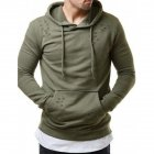 Pure Color Leisure Hole Fashion Men Side zipper Sweatershirt ArmyGreen 2XL