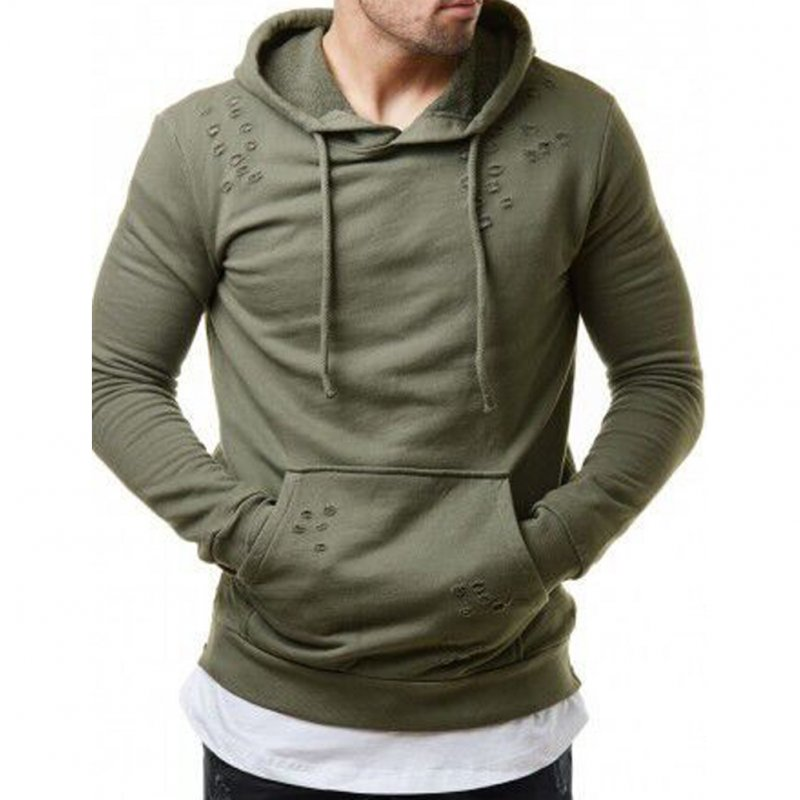 Pure Color Leisure Hole Fashion Men Side zipper Sweatershirt ArmyGreen_2XL
