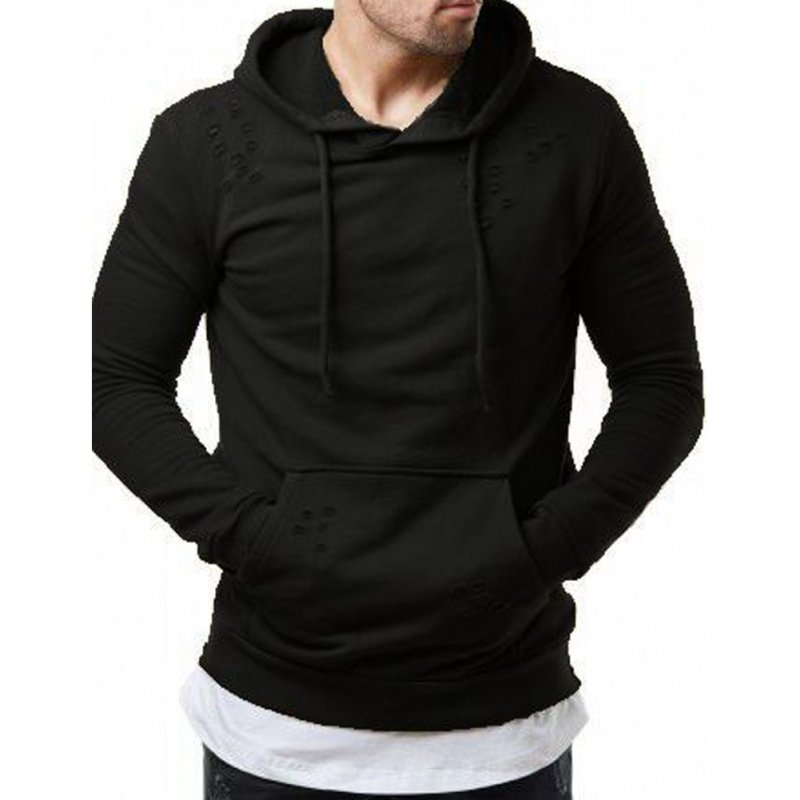 Pure Color Leisure Hole Fashion Men Side zipper Sweatershirt black_M