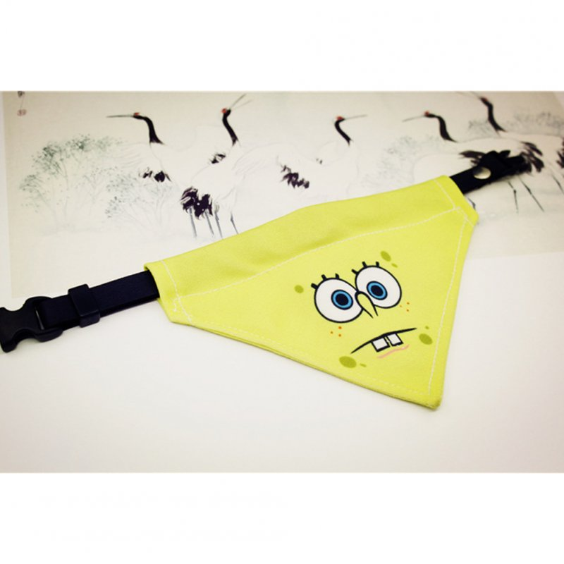 Pure Hand-made Pet Cat Dog SpongeBob Triangle Scarf M_SpongeBob A