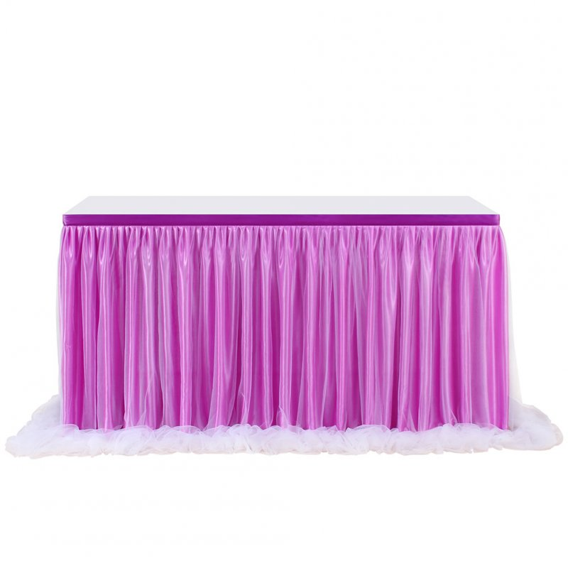 Purple Color Long Yarn Table Skirt with Threaded Ribbon for Wedding Party