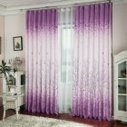 Purple Pachira Macrocarpa Printed Window Curtain for Home Decoration W 100cm x H 200cm_purple