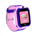 Q12b Children's Smart  Watch Silicone Waterproof Positioning Touch Screen Smart  Watch Pink