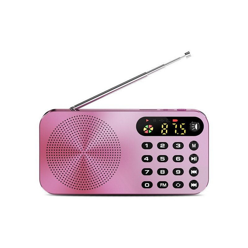 Q6 Multi-function Fm Radio 3600mah Battery Rechargeable Led Digital Display Radio Rose gold