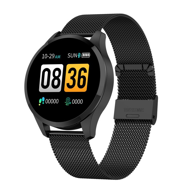 Q9 Men Smart Watch Waterproof Message Call Reminder Smartwatch Heart Rate Monitor Fashion Fitness Bracelet Black dial black steel strap
