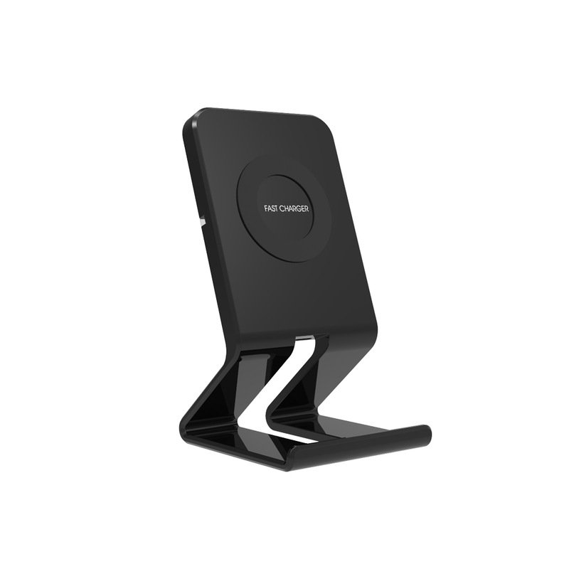 QI 10W Wireless Charger for Android/iPhone Cellphone Fast and Safe Charging Vertical Stand Elegant Desk Charger black
