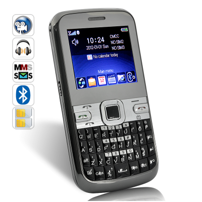3 SIM QWERTY Mobile Phone - TriZone