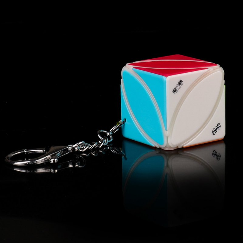 Qiyi Magic Cube Mini Stickerless Soild Color Smooth Cube Keychain Pendant Educational Toy Lvy Speed Cube Keychain-White