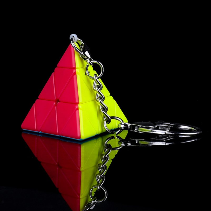 Qiyi Magic Cube Mini Stickerless Soild Color Smooth Cube Keychain Pendant Educational Toy Pyramid Speed Cube keychain-color