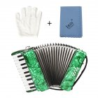 22-Keys 8 Bass Accordion Musical Instrument Rhythm Band for Beginner Children green