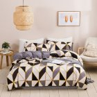 Quilt Cover  Pillowcase with Triangular Plaid Geometric Pattern Protective Bedding Cover