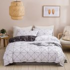 Quilt Cover +Pillowcase with Triangular Plaid Geometric Pattern Protective Bedding Cover