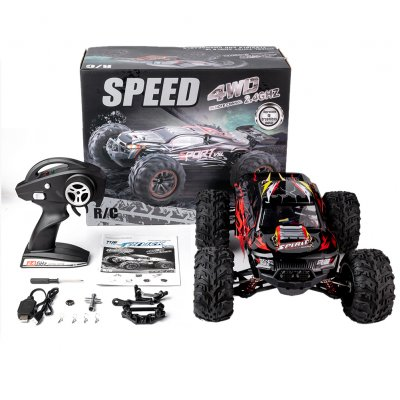 RC Car High Speed 60KM/H X-04 2.4G 1/10 4WD  Brushless Big Foot Vehicle Models Truck Off-Road Vehicle Buggy RC Electronic Toys RTR red