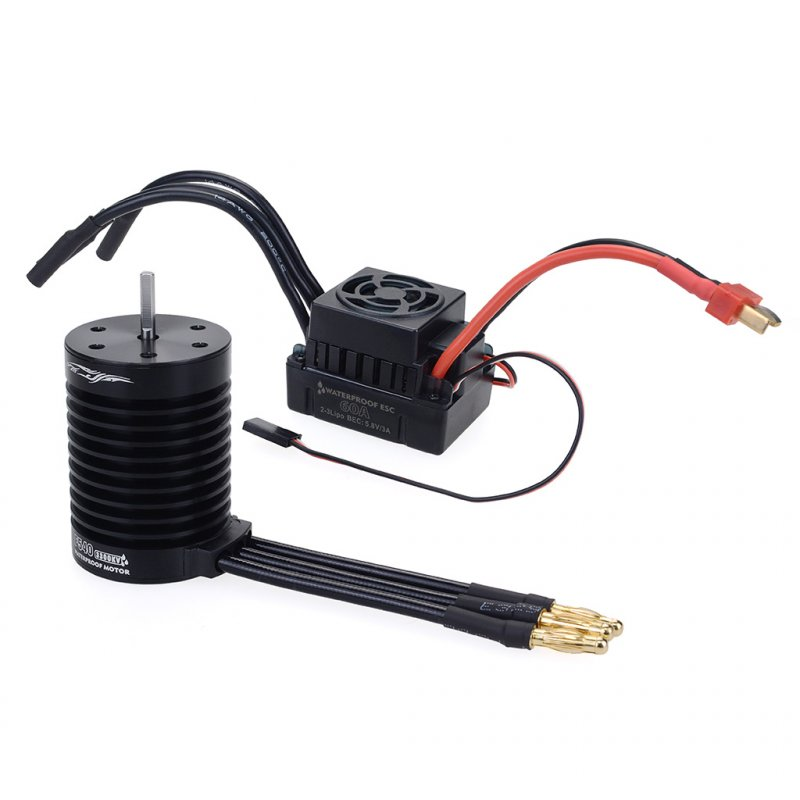RC F540 4370KV/3300KV Waterproof Sensorless Brushless Motor and 60A Brushless ESC Combo Set For 1/10 RC Racing Car Boat Model
