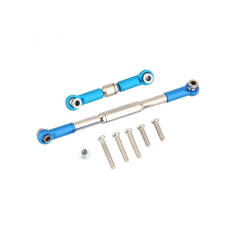 RC Steering Rod CNC Machined Aluminium Alloy Linkage Set for WPL 1608T RC Truck Car Accessory blue_as shown