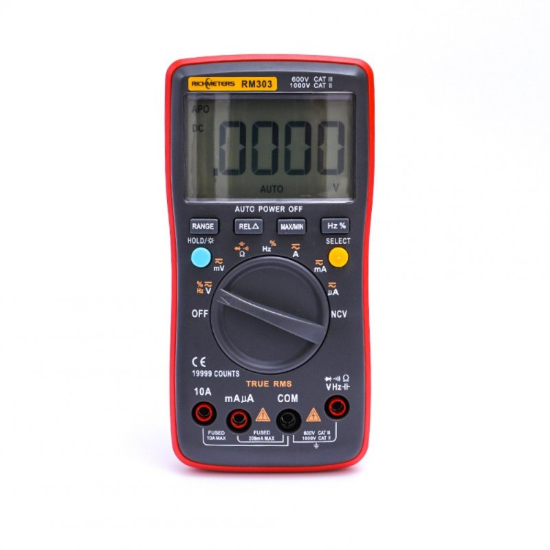 RICHMETERS RM303 True-RMS 19999 Counts Digital Multimeter NCV Frequency 200M Resistance Auto Power off AC DC Voltage Ammeter Current Ohm RM303