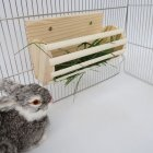 Rabbit Wooden Hay Rack Stand Grass Fodder Holder Pet Feeder For Chinchilla Guinea Pig burlywood
