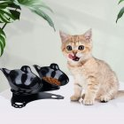 Raised Pet  Cat Food  Bowl Water  Bowl With  Non-slip  Rubber  Base  Stand black_black