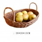 Rattan Storage Tray with Handle Bread Fruit Food Breakfast Display Basket for Kitchen large