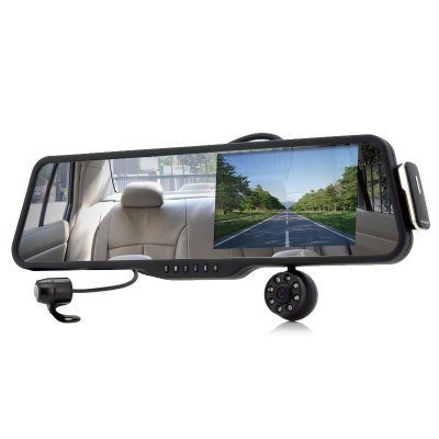 Car Rearview Mirror with Front and Back Camer