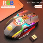 Rechargeable Wireless Gaming Mouse Silent Ergonomic 7 Keys RGB Backlit 1600 DPI Mouse for Laptop Computer gray